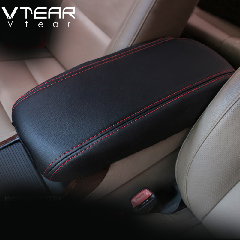 For hyundai creta 2016 ix25 middle armrest box leather cover interior accessory styling decoration products black thread 2015-17(China)