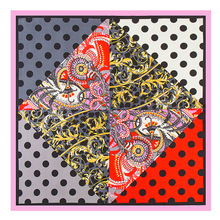 60cm 60cm 100% Silk Scarf For Women 2017 New Arrive Spring Fashion Dot Flowers Printed Scarves And Shawls Pashmina Hijab