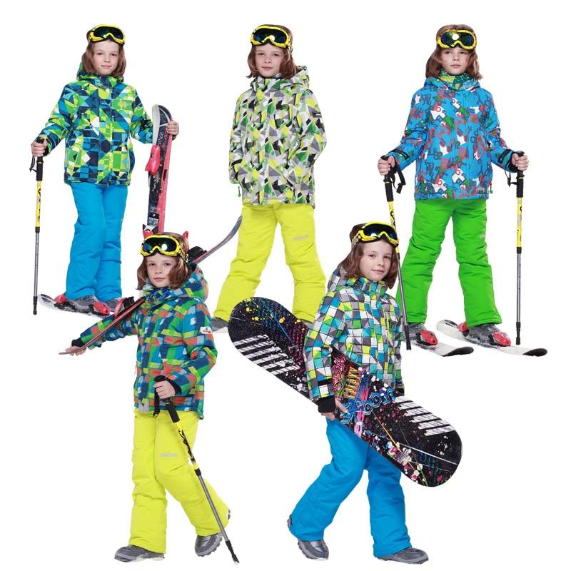 Winter Children Ski Suit Windproof Waterproof Boys Snowboard Ski Jacket+Bib Pants 2pcs Boys Ski Set aTST0208<br><br>Aliexpress