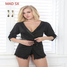 2017 latest style woman ice silk  fabrics long sleeve black kimono style sexy pajamas frivolous nightgown lady Loose underwear