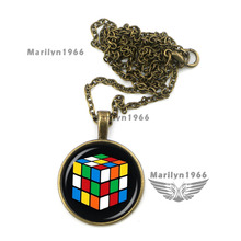 MAZZ-0502 love the 80s rubiks cube round glass pendant necklace rubik jewelry accessories