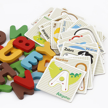 1 set Wooden Card Puzzles English Letters Animals Learning Educational 3D Montessori Toys for Children(China)