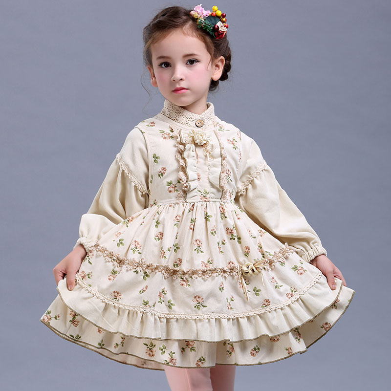 2018 girl suit spring/autumn new original design retro palace cotton princess 2pcs dress children clothing Kid costume 3-12 year<br>