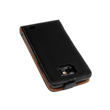 Luxury S2 Genuine Leather Case Flip Cover For Samsung I9100 Galaxy S2 II Plus I9105 Vertical Phone Cover(China)