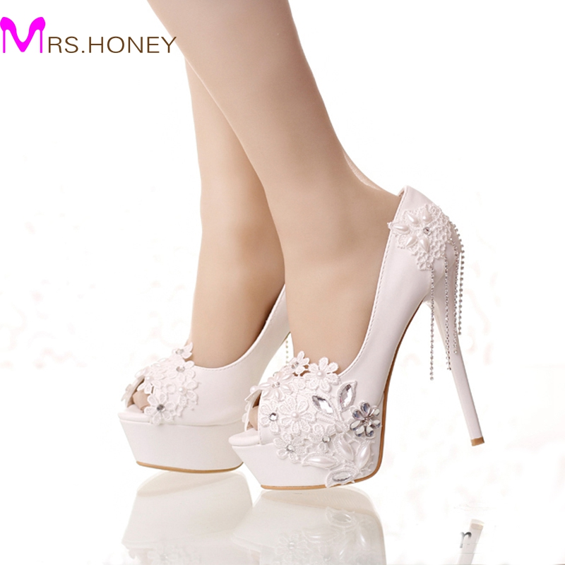 White lace pumps