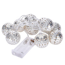 "New 10-LED 47""Battery High Quality Metal Ball LED String Lights Patio Fairy String Lights Chritmas Party Wedding Decoration"