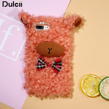 Dulcii Phone Case For iPhone 6s 6 7 Plus Bling Decor 3D Fluffy Sheep Shape TPU Cell Phone Case for iPhone 6s 6 7 Plus - Orange(China)