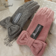 2017 New Winter Angora wool gloves for women elegant ladies Bow Thick Soft Warm cashmere driving Gloves pink grey gift WG-005