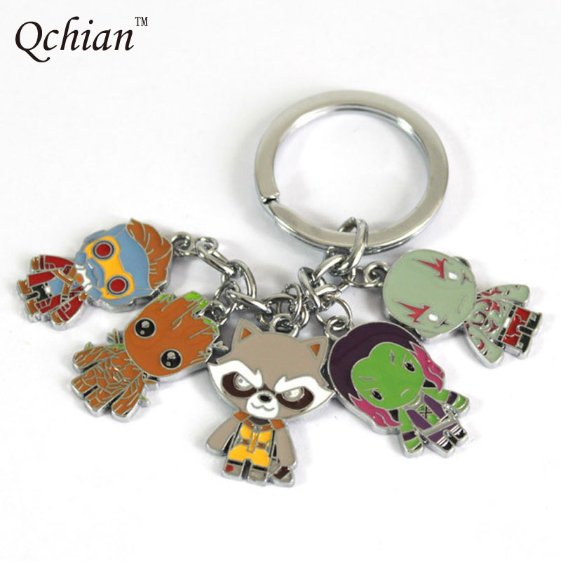 Guardians Galaxy Keychain Guardians Galaxy Action Figure Pendant Rocket Raccoon Mini Metal Model Key Chains
