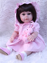 Lovely 40CM reborn baby girl doll full silicone body reborn babies bonecas children gift girls play house toys(China)