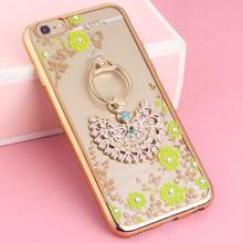 Hot New Ring Holder Phone Case For iphone 6 6s Plus Soft Flower Plating Diamond Cover For iphone 6s Plus