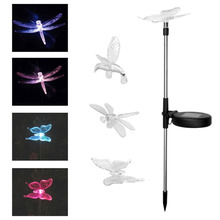 2pcs Colorful LED Solar Powered Light IP44 Outdoor Garden Path Decorative Light Lawn Landscape Lamp Butterfly / Dragonfly / Bird(China)