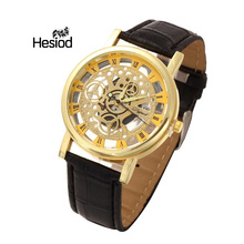 Skeleton Hollow Fashion Mechanical Hand Wind Men Luxury Male Business Leather Strap Wrist Watch(China)