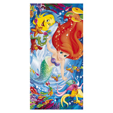 Little Mermaid Pattern Multifunctional Use Baby Bath Towels Women Hand Face Hair Drying Soft Bamboo Fiber Towel 35*70cm