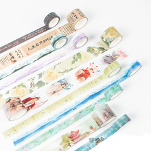 DIY Cute Kawaii Flower Adhesive Washi Tape Vintage Retro Decorative Masking Tape For Photo Ablum Free Shipping 3634(China)