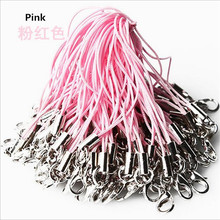 20 pcs/lot pink polyester strap phone Lanyard hand wrist strap Mobile Lobster Clasp Mobile phone rope usb pen flash lanyard(China)