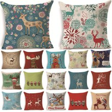 1Pcs 43*43cm Christmas Deer Gifts Pattern Cotton Linen Throw Pillow Cushion Cover Car Home Sofa Decorative Pillowcase 40483(China)
