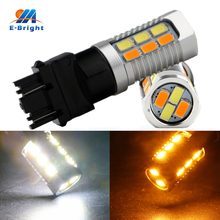 6pcs T25 3157 Bulbs Color 5630 28 SMD LED Bulb White Running Yellow Turn Light Auto LED Lamp 12V 560LM 2 Colors White and Amber