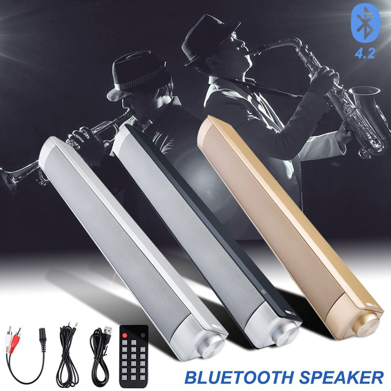 VTIN Wireless Bluetooth Speaker 4.2 SoundBar Remote Control TF Card TV Cellphone Tablet Surround Sound System TV Speaker Golden (17)