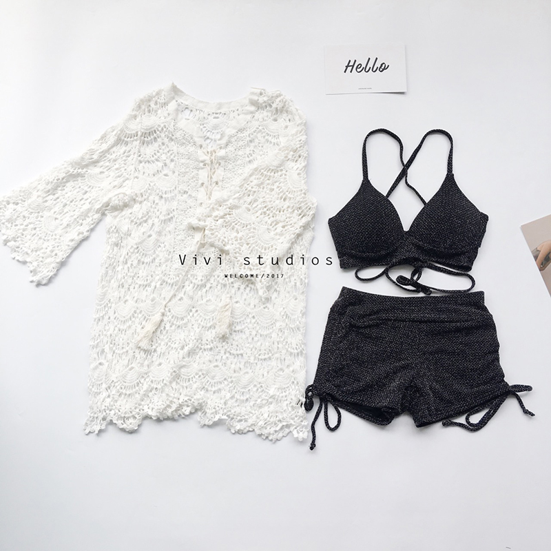 2017 Promotion Temperament Show Thin Chest Together Blouse Covered Belly Fission Swimsuit Three Piece Beach Holiday Hot Spring <br>