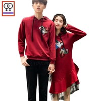 98bd68d84a Winter Hoodies Christmas Gift Red Printed Hooded Pullover Cute Boyfriend  Girlfriend Patchwork Sheer Mesh Couple Hoodies