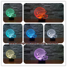 Wholesale 2017 3D Oakland Raider Team Logo LED USB Lamp Football Rugby Soccer Cap Sports Helmet Gradient Colors Decor Gift Props