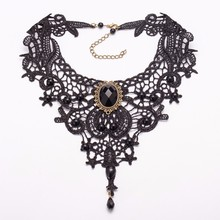 TOMTOSH Fashion Necklaces Beauty Girl Handmade Jewerly Gothic Retro Vintage Lace Necklace Collar Choker Necklace bib gem chain