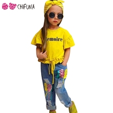 chifuna Spring Autumn Girls Clothes Sets T-shirt + Sequin Balloon Ripped Jeans + Headwear 3pcs Fashion Girls Pant Sets(China)