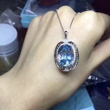 natural big blue topaz pendant S925 silver Natural gemstone Pendant Necklace Retro Elegant round Hollow women party fine jewelry