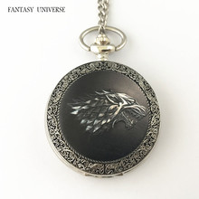 FANTASY UNIVERSE Freeshipping wholesale 20pc a lot Game of thrones pocket watch Necklace Dia4.7CM DFEIJI60
