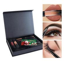 Makeup Set Eyelashes Mascara Eye Liner Eyebrow Pencil with Brush Lip Liner Matte Liquid Lipstick Gloss Kit Christmas Gift Z3(China)