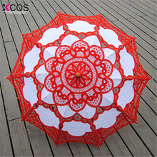 4 Colors Sun Lace Umbrella Parasol Embroidery Bride Umbrella White Wedding Umbrella Ombrelle Dentelle Parapluie Mariage(China)