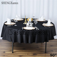 "5pcs 90"" Round Table Cloth \ Cheap Wedding Tablecloth(China)"