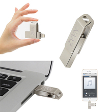 Pendrive 128GB OTG Rotate flash drive usb flash drive 16gb 32gb 64gb pen drive usb 2.0 u disk for iphone/ipad/ipod key metal