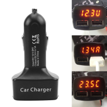 Car-charger Dual USB Car Charger Adapter Voltage Current 5V 3.1A Celsius Temperature Tester Car-Styling