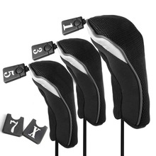 3Pcs Soft 1 3 5 Wood Golf Club Driver Headcovers Head Covers Set - Black(China)