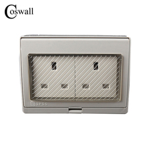 IP55 Report CE Wall Waterproof Dust-proof British Power Socket, 13A Double UK Standard Electrical Outdoor Outlet Grounded()