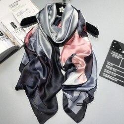 2019 Роскошные брендовые летние женские шарфы Модные Качественные мягкие шелковые шарфы женские шали из фуляра пляжные накидки обертывания ...