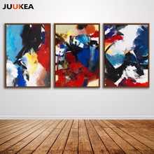 Abstract Red Blue and White Yellow Bright Random Accumulation Oil Painting Print On Canvas, Home Decor Art For Living Room(China)