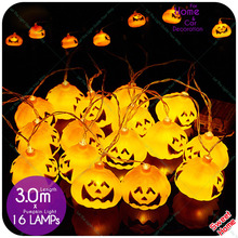 1set 3M 16Led String Light Halloween Pumpkin Garland Light Decorations For Hanging Halloween Holiday Decoration Party Supplies