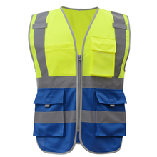 SFvest Safety Reflective vest men safety workwear work vest tool pockets yellow blue waistcoat free shipping(China)