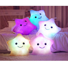 Kawaii Luminous pillow Christmas Toys,Led Light Pillow,plush Pillow,Hot Colorful Stars,kids Toys,Birthday Gift Low Price Selling(China)