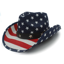Summer Straw Women Men Hollow Western Cowboy Hat For Dad Sombrero Jazz Cap With American Flag(China)