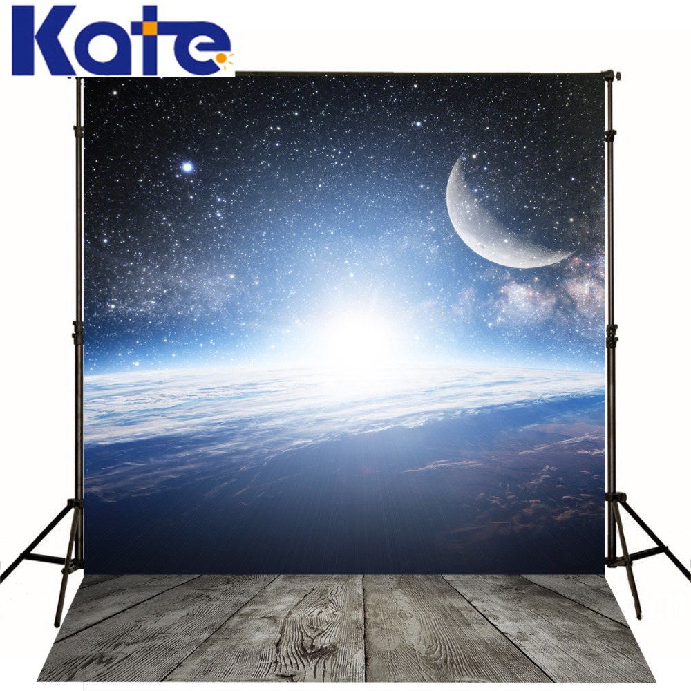 5*6.5Ft(150*200Cm) Kate Photo Background Wood Floor  Night Sky Moon Backgrounds Backgrounds For Photo Studio Ff0004<br>