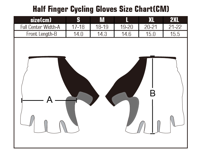 Vaggesports cycling gloves size chart