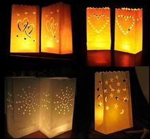 50 Pcs 26cm White Paper Lantern Candle Bag LED light Lampion Heart For Romantic Birthday Party Wedding Event BBQ Decoration(China)