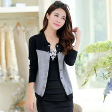 2016 women's patchwork fashion double breasted small cardigan thickening sweater outerwear short design
