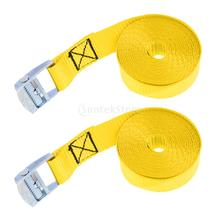 2pcs Yellow 5m 25mm Roof Rack Cam Buckle Lashing Tie Down Strap for Kayak Canoe Boat Cargo SUP Surfboard Trailer Truck Car(China)