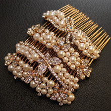 2015 New Fashion Wedding Hair Jewelry for Bridal Gold color Elegant Crystal Hair Comb Pearl Hair Pin Clip Accessories XHP090(China)