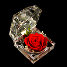 Decorative Fresh Preserved Rose Flower Crystal Ring Box Wedding Souvenir Mother's Day Birthday Flowers Gifts Home Decoration(China)